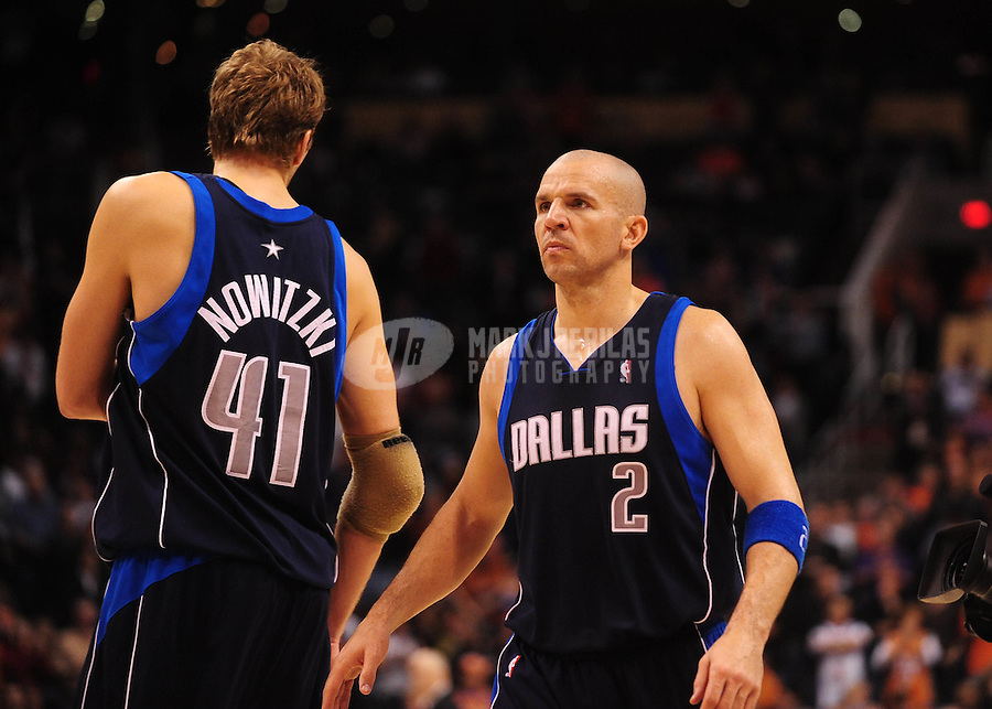 Jan. 28, 2010; Phoenix, AZ, USA; Dallas Mavericks guard (2) Jason Kidd and forward (41) Dirk Nowitzki against the Phoenix Suns at the US Airways Center. Phoenix defeated Dallas 112-106. Mandatory Credit: Mark J. Rebilas-