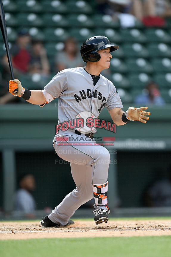 Third baseman Shane Matheny (7) of the Augusta GreenJackets bats in a game against the Greenville Drive on Thursday, May 17, 2018, at Fluor Field at the West End in Greenville, South Carolina. Augusta won, 2-1. (Tom Priddy/Four Seam Images)