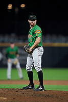 Down East Wood Ducks pitcher Josh Advocate (11) during a Carolina League game against the Fayetteville Woodpeckers on August 13, 2019 at SEGRA Stadium in Fayetteville, North Carolina.  Fayetteville defeated Down East 5-3.  (Mike Janes/Four Seam Images)