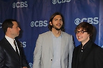 Two and a Half Men cast - Jon Cryer, Ashton Kutcher and Angus T. Jones at the CBS Upfront 2011 on May 18, 2011 at Lincoln Center, New York City, New York. (Photo by Sue Coflin/Max Photos)