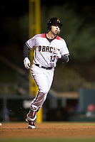 Salt River Rafters third baseman Drew Ellis (13), of the Arizona Diamondbacks organization, rounds the bases after hitting a home run during an Arizona Fall League game against the Scottsdale Scorpions at Salt River Fields at Talking Stick on October 11, 2018 in Scottsdale, Arizona. Salt River defeated Scottsdale 7-6. (Zachary Lucy/Four Seam Images)