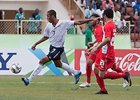 Stefan Jerome kicks the ball. US Under-17 Men's National Team defeated United Arab Emirates 1-0 at Gateway International  Stadium in Ijebu-Ode, Nigeria on November 1, 2009.