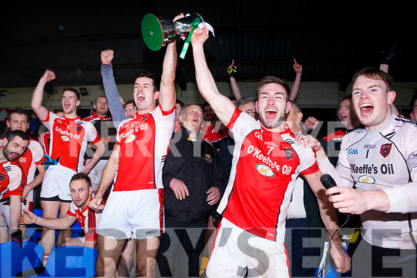 Brendan O'Keeffe and Aidan O'Mahony Rathmore lift the O'Donoghue cup after defeating Legion in the East Kerry final on Sunday