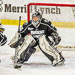 13 November 2015: Providence College Friar Goaltender Alanna Serviss, a Junior from Chicago, IL, in third period action against the University of Vermont Catamounts at Gutterson Fieldhouse in Burlington, Vermont. The Lady Friars defeated the Lady Cats 4-1 in Hockey East play. Mandatory Credit: Ed Wolfstein Photo *** RAW (NEF) Image File Available ***