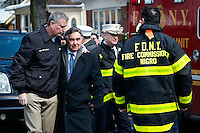 NYC mayor Bill de Blasio arrives to the house where at least 7 children died during the fire in Brooklyn, New York. 21.03.2015. Eduardo Munoz Alvarez/VIEWpress.