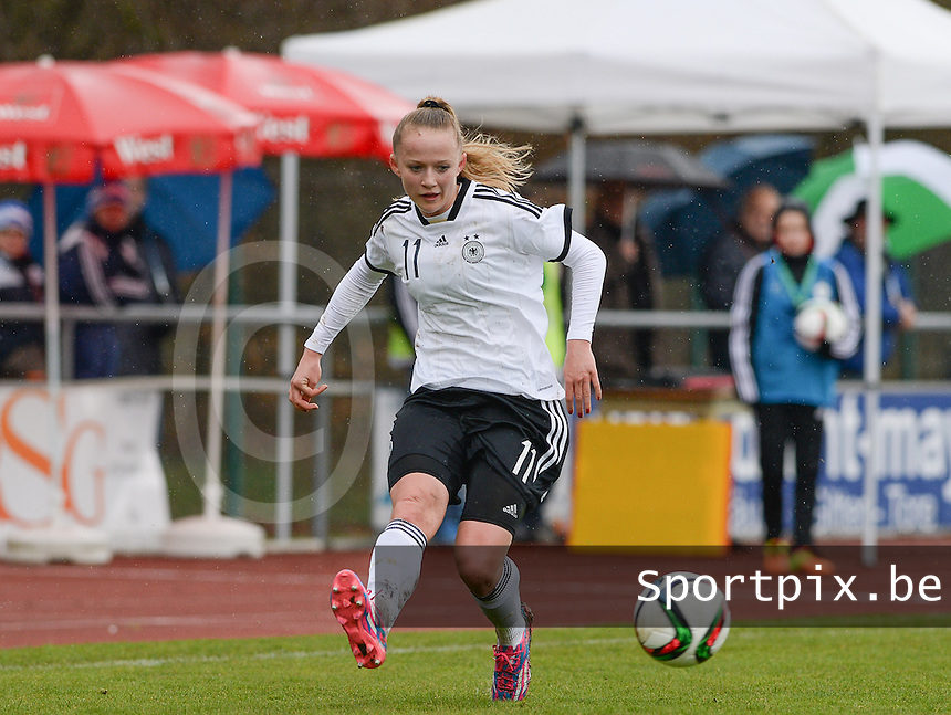 20150404 - FORST , GERMANY  : German Lea Schuller pictured during the soccer match between Women Under 19 teams of Germany and Scotland , on the first matchday in group 5 of the UEFA Elite Round Women Under 19 at WaldseeStadion , Forst , Germany . Saturday 4th April 2015 . PHOTO DAVID CATRY