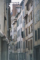 A typical narrow street of tall thin colombage houses near the cathedral in Bayonne. Even in summer, the sun penetrates to ground level in these houses only briefly.