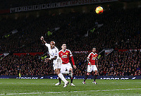 Andre Ayew of Swansea City hits the post with a header during the Barclays Premier League match between Manchester United and Swansea City played at Old Trafford, Manchester on January 2nd 2016