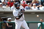 Reno Aces Wily Mo Pena gets a hit in Sunday's baseball game against the Colorado Springs Sky Sox on April 17, 2011, in Reno, Nev. .Photo by Cathleen Allison