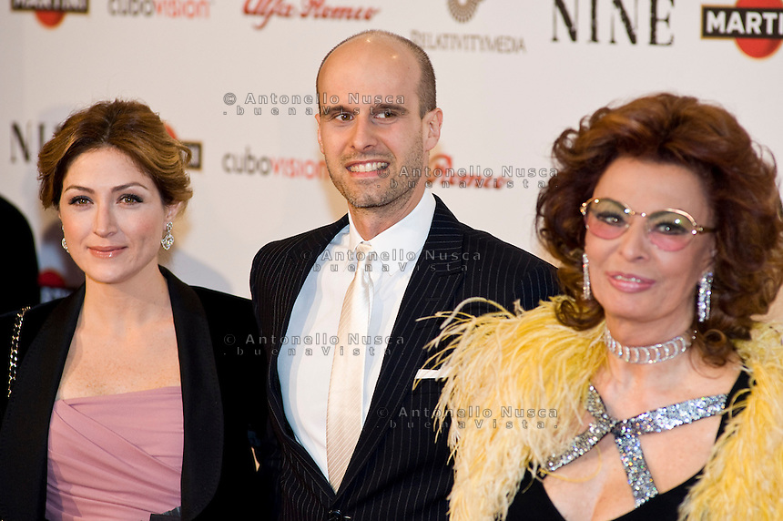 Sophia Loren and son Edoardo Ponti with wife attend the Rome screening of 'NINE', at the Auditorium Conciliazione on Wednesday January 13, 2010 in Rome, Italy.