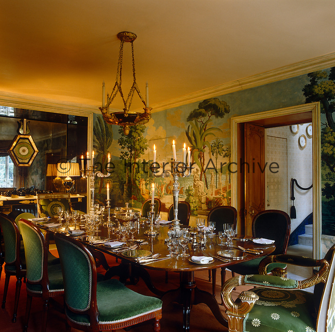 An Elegant Georgian Dining Table Is Laid For A Candlelit Dinner In Empire Style
