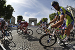 Liquigas rider Aleksandr Kuschynski (BLR) in the pelethon as they round the hairpin bend beneath the Arc de Triomphe at the end of the Champs Elysee during the final Stage 21 of the 2009 Tour de France running 164km from Montereau-Fault-Yonne to Paris Champs-Elysees, France. 26th July 2009 (Photo by Eoin Clarke/NEWSFILE)
