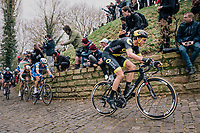 Niki Terpstra (NED/Direct Energie) charging up the infamous Kapelmuur<br /> <br /> 74th Omloop Het Nieuwsblad 2019 <br /> Gent to Ninove (BEL): 200km<br /> <br /> ©kramon