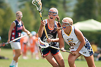 Aleah McKay of Bedford, New Hampshire plays in a lacrosse tournament in Lake Placid, New York.