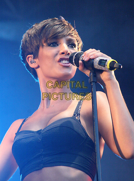 THE SATURDAYS - FRANKIE SANDFORD.Ultrasound Music Festival at Tamworth Castle, Staffordshire, Tamworth, Staffs, USA..September 3rd 2011.stage concert live gig performance music half length black cropped top   singing  .CAP/JIL.©Jill Mayhew/Capital Pictures