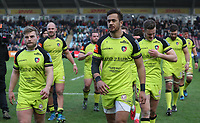 Leicester Tigers leaving the pitch after todays win <br /> <br /> Photographer Rachel Holborn/CameraSport<br /> <br /> Anglo-Welsh Cup Final - Exeter Chiefs v Leicester Tigers - Sunday 19th March 2017 - The Stoop - London<br /> <br /> World Copyright &copy; 2017 CameraSport. All rights reserved. 43 Linden Ave. Countesthorpe. Leicester. England. LE8 5PG - Tel: +44 (0) 116 277 4147 - admin@camerasport.com - www.camerasport.com