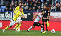 Bolton Wanderers' Erhun Oztumer breaks away from Blackburn Rovers' Harrison Reed<br /> <br /> Photographer Andrew Kearns/CameraSport<br /> <br /> The EFL Sky Bet Championship - Bolton Wanderers v Blackburn Rovers - Saturday 6th October 2018 - University of Bolton Stadium - Bolton<br /> <br /> World Copyright &copy; 2018 CameraSport. All rights reserved. 43 Linden Ave. Countesthorpe. Leicester. England. LE8 5PG - Tel: +44 (0) 116 277 4147 - admin@camerasport.com - www.camerasport.com