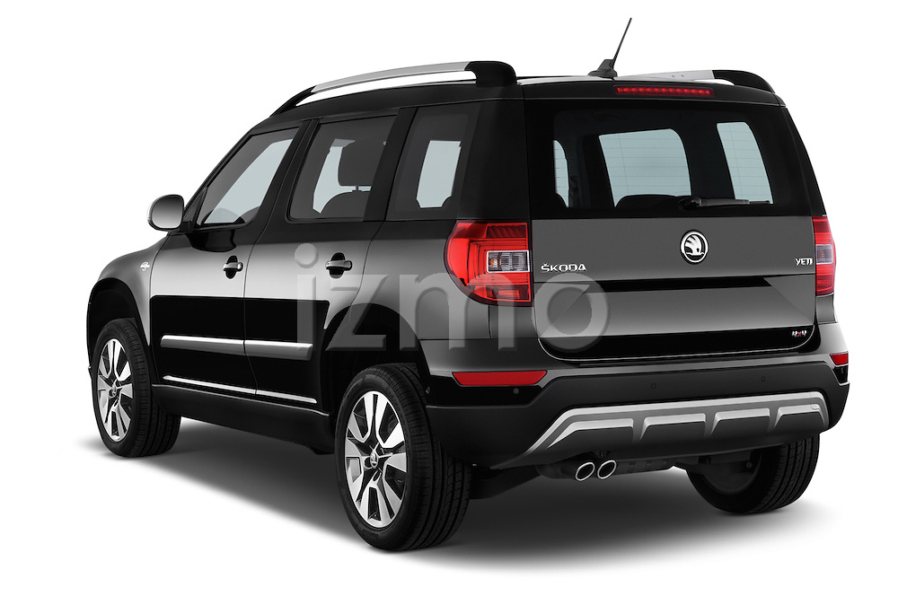 Car pictures of rear three quarter view of a 2014 Skoda YETI LAURIN & KLEMENT OUTDOOR 5 Door SUV 4WD Angular Rear