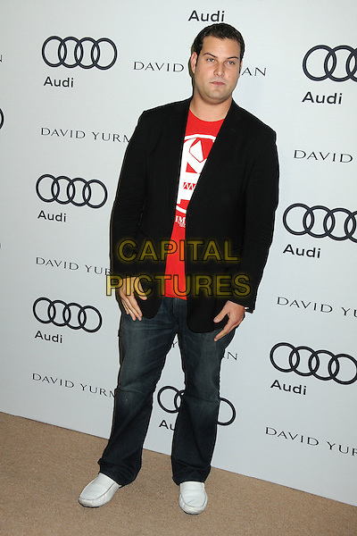 Max Adler.Audi and David Yurman Emmy Week 2011 Kick Off Party held at Cecconi's, West Hollywood, California, USA..September 11th, 2011.full length black suit jacket jeans denim red top.CAP/ADM/BP.©Byron Purvis/AdMedia/Capital Pictures.