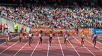 Dina ASHER-SMITH (3rd left) of GBR in the 200m on her way to a new British Record of 10.99 during the Sainsbury's Anniversary Games, Athletics event at the Olympic Park, London, England on 25 July 2015. Photo by Andy Rowland.