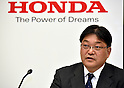 February 3, 2017, Tokyo, Japan - Chief Financial Officer Kohei Takeuchi of Japans Honda Motor Co., reports the automakers earnings for the third quarter of fiscal year 2017 in Tokyo on Friday, February 3, 2017. For fiscal 2016,?Honda?raised its group net profit outlook to?545 billion yen, up 58.2 percent from a year earlier.  (Photo by Natsuki Sakai/AFLO) AYF -mis-