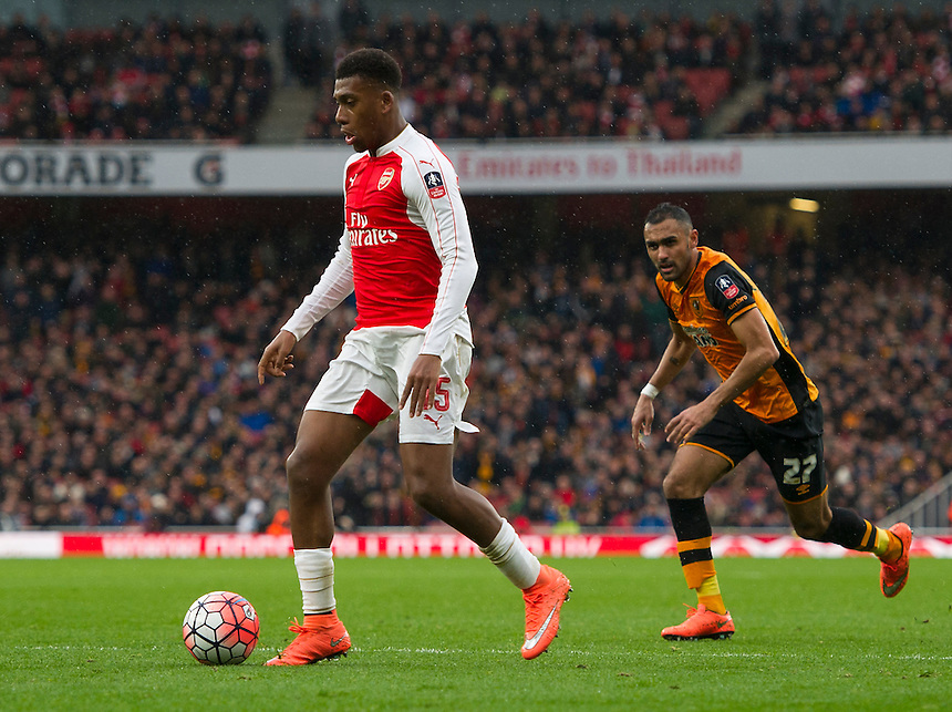 Arsenal's Alex Iwobi in action during todays match  <br /> <br /> Photographer Ashley Western/CameraSport<br /> <br /> Football - The FA Cup Fifth Round - Arsenal v Hull City - Saturday 20th February 2016 - Emirates Stadium - London<br /> <br /> &copy; CameraSport - 43 Linden Ave. Countesthorpe. Leicester. England. LE8 5PG - Tel: +44 (0) 116 277 4147 - admin@camerasport.com - www.camerasport.com