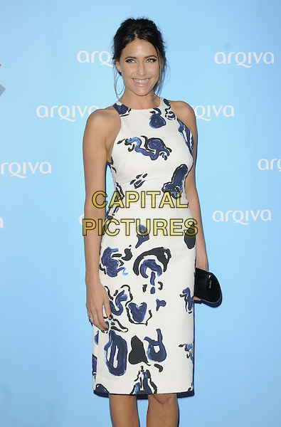 Lisa Snowdon<br /> Arqiva Commercial Radio Awards at the Park Plaza, Westminster Bridge, London, England.<br /> July 3th 2013<br /> half length white blue pattern dress sleeveless black clutch bag  <br /> CAP/CAN<br /> &copy;Can Nguyen/Capital Pictures