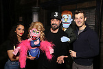 "AJ McLean from the Backstreet Boys backstage with Gizel Jimenez and Matt Dengler from the cast and crew of  ""Avenue Q""  at the New World Stages on January 27, 2019 in New York City."