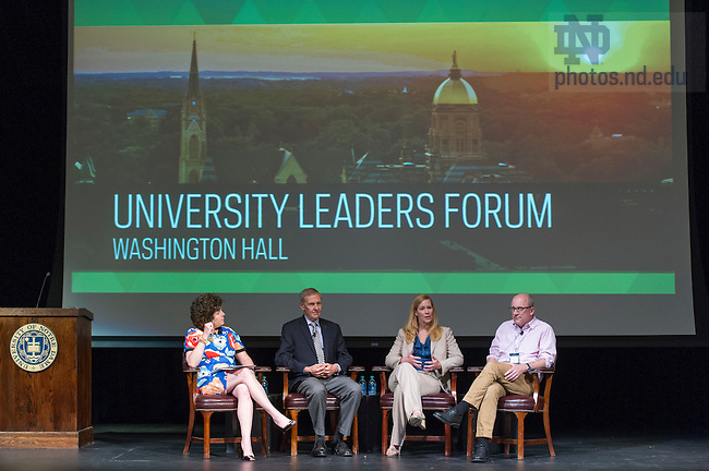 June 3, 2016; University Leaders Forum with John Affleck-Graves, Executive Vice President, John McGreevy, I.A. O'Shaughnessy Dean of the College of Arts and Letters and Professor of History, and Heather Rakoczy Russell, Associate Vice President for Residential Life and moderator, Dolly Duffy, '84, Executive Director of the Notre Dame Alumni Association. (Photo by Barbara Johnston/University of Notre Dame)