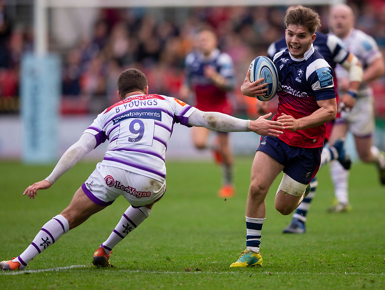 Bristol Bears' Harry Randall in action during todays match<br /> <br /> Photographer Bob Bradford/CameraSport<br /> <br /> Gallagher Premiership - Bristol Bears v Leicester Tigers - Saturday 1st December 2018 - Ashton Gate - Bristol<br /> <br /> World Copyright © 2018 CameraSport. All rights reserved. 43 Linden Ave. Countesthorpe. Leicester. England. LE8 5PG - Tel: +44 (0) 116 277 4147 - admin@camerasport.com - www.camerasport.com
