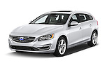 2018 Volvo V60 T5 5 Door Wagon Angular Front stock photos of front three quarter view