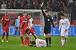 12.01.2018, BayArena, Leverkusen , GER, 1.FBL., Bayer 04 Leverkusen vs. FC Bayern M&uuml;nchen<br /> im Bild / picture shows: <br /> gelbe Karte f&uuml;r f&uuml;r Karim Bellarabi (Leverkusen #38), Javi Martinez (Bayern Muenchen #8),  am Boden<br /> <br /> <br /> Foto &copy; nordphoto / Meuter