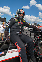 Sep 3, 2018; Clermont, IN, USA; NHRA top fuel driver Billy Torrence during the US Nationals at Lucas Oil Raceway. Mandatory Credit: Mark J. Rebilas-USA TODAY Sports