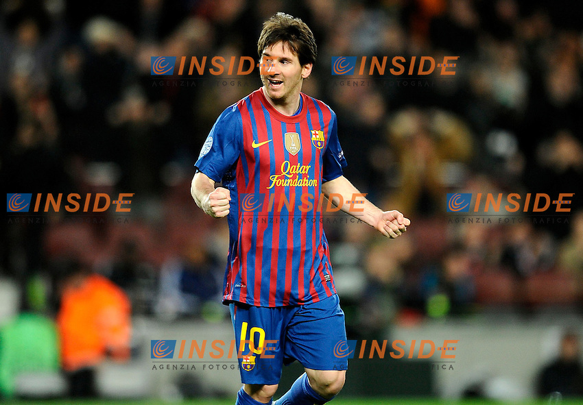 Esultanza dopo il gol di Lionel Messi (Barcelona).07/03/2012 Barcellona.UEFA Champions League.Barcelona vs Bayer Leverkusen.photo Insidefoto / Paco Largo / Panoramic .Italy Only