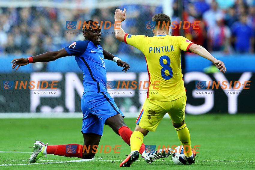 Paul Pogba France, Mihai Pintilii Romania <br /> Paris 10-06-2016 Stade de France football Euro2016 France - Romania  / Francia - Romania Group Stage Group A. Foto Matteo Ciambelli / Insidefoto
