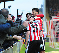 Lincoln City's Lee Frecklington celebrates scoring his sides equalising goal to make the score 1-1<br /> <br /> Photographer Andrew Vaughan/CameraSport<br /> <br /> The EFL Sky Bet League Two - Lincoln City v Notts County - Saturday 13th January 2018 - Sincil Bank - Lincoln<br /> <br /> World Copyright &copy; 2018 CameraSport. All rights reserved. 43 Linden Ave. Countesthorpe. Leicester. England. LE8 5PG - Tel: +44 (0) 116 277 4147 - admin@camerasport.com - www.camerasport.com