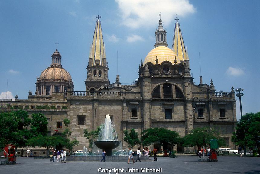 The Guadalajara cthedral and Plaza de la Liberacion, Guadalajara, Jalisco, Mexico