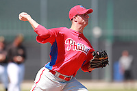 Philadelphia Phillies minor league pitcher Jake Borup vs. the Pittsburg Pirates in an Instructional League game at Pirate City in Bradenton, Florida;  October 6, 2010.  Photo By Mike Janes/Four Seam Images