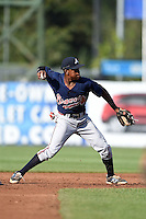 Jalen Miller (1) of Riverwood High School in Atlanta, Georgia playing for the Atlanta Braves scout team during the East Coast Pro Showcase on July 31, 2014 at NBT Bank Stadium in Syracuse, New York.  (Mike Janes/Four Seam Images)