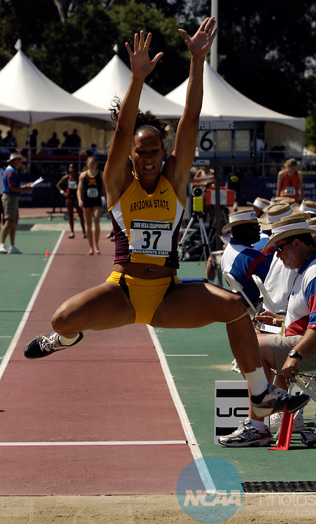 10 June 2006:  Jacquelyn Johnson (13) of the University of Arizona State competes in the Women's Heptathlon final.  Johnson won with a jump of 6.09m and accumulated 877 points during the Division I Men's and Women's Track and Field Championship held at the Alex G. Spanos Sports Complex on the campus of in Sacramento, CA.  Rich Clarkson/NCAA Photos.