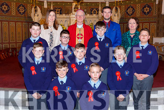 Pupils from Castleisland Boys NS with Bishop Ray Browne Principal Marina O'Connor, teachers Louise Hayes and Richard Casey at the Confirmation in St Stephens and Johns church Castleisland on Thursday l-r: Wiktoria Brzozlea, Gabriella Socha, Louise Callaghan, Siobhan Mahony, Maria Greaney and Oliwia Gruszka