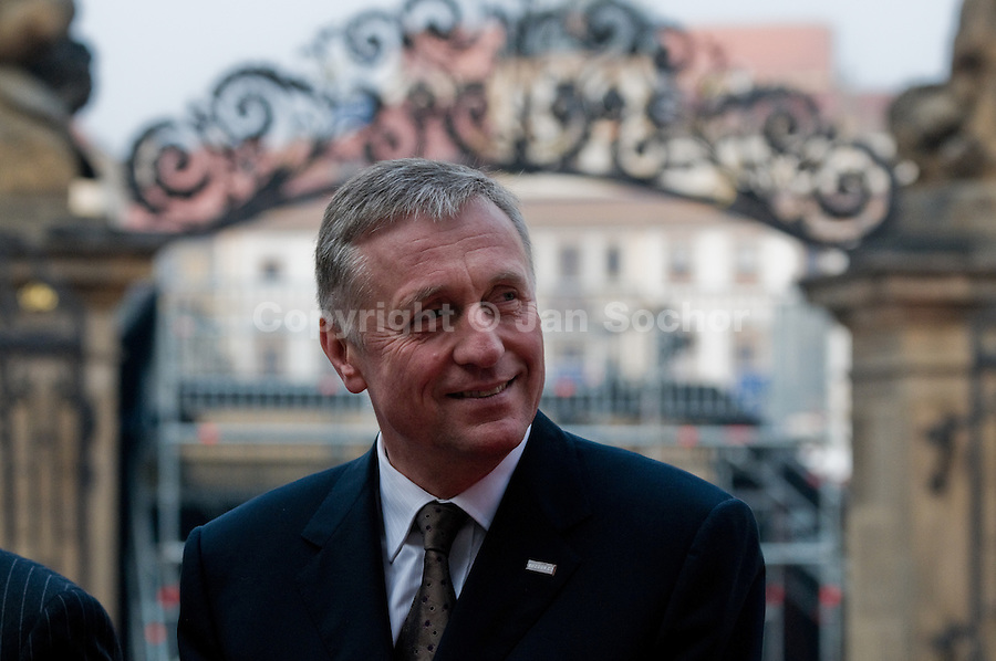The Czech Prime Minister Mirek Topolanek seen during the welcome ceremony in honour of the US President Barack Obama at Prague Castle in Prague, Czech Republic, 5 April 2009.