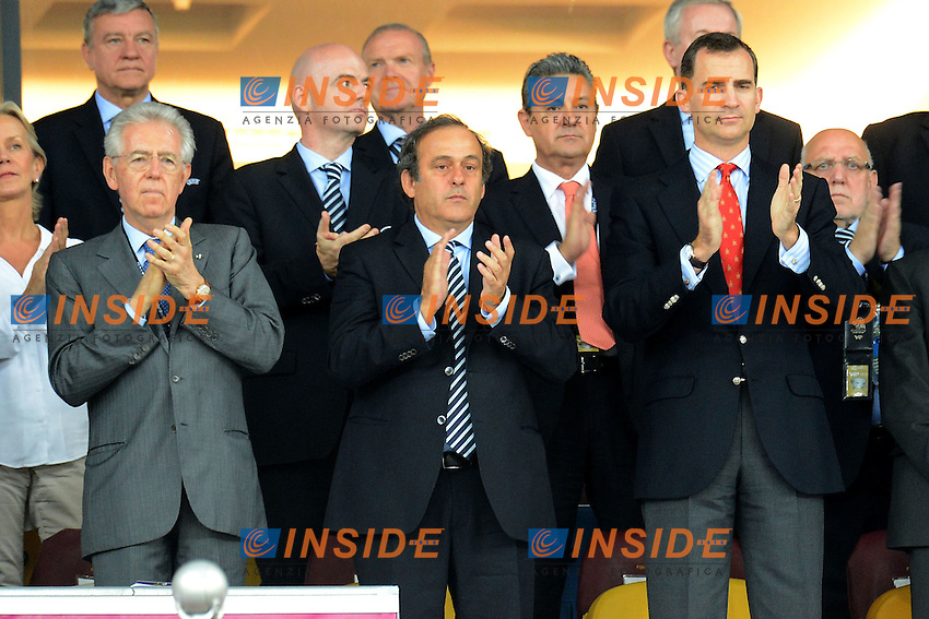 "Mario Monti Italian Prime Minister, Michel Platini Uefa, Felipe di Borbone Prince of Spain.Kiev 01/07/2012  ""Stadio Olimpico"".Football calcio Europeo 2012 Spagna Vs Italia.Football Calcio Euro 2012.Foto Insidefoto Alessandro Sabattini..."