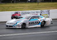 Jun 5, 2015; Englishtown, NJ, USA; NHRA pro stock driver Jonathan Gray during qualifying for the Summernationals at Old Bridge Township Raceway Park. Mandatory Credit: Mark J. Rebilas-