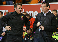 Blackpool manager Gary Bowyer shares a word with Stevenage manager Darren Sarll <br /> <br /> Photographer Alex Dodd/CameraSport<br /> <br /> The EFL Sky Bet League Two - Blackpool v Stevenage - Tuesday 14th March 2017 - Bloomfield Road - Blackpool<br /> <br /> World Copyright &copy; 2017 CameraSport. All rights reserved. 43 Linden Ave. Countesthorpe. Leicester. England. LE8 5PG - Tel: +44 (0) 116 277 4147 - admin@camerasport.com - www.camerasport.com