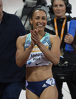 Jessica ENNIS HILL of GBR (Women's 100m Hurdles) is happy after running a great time during the Sainsburys Anniversary Games Athletics Event at the Olympic Park, London, England on 24 July 2015. Photo by Andy Rowland.