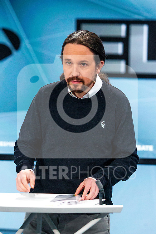 Leader of Unidas Podemos Pablo Iglesias before the electoral debate organized by Atresmedia television network on April 22, 2019 in Madrid, Spain.(ALTERPHOTOS/Alconada).