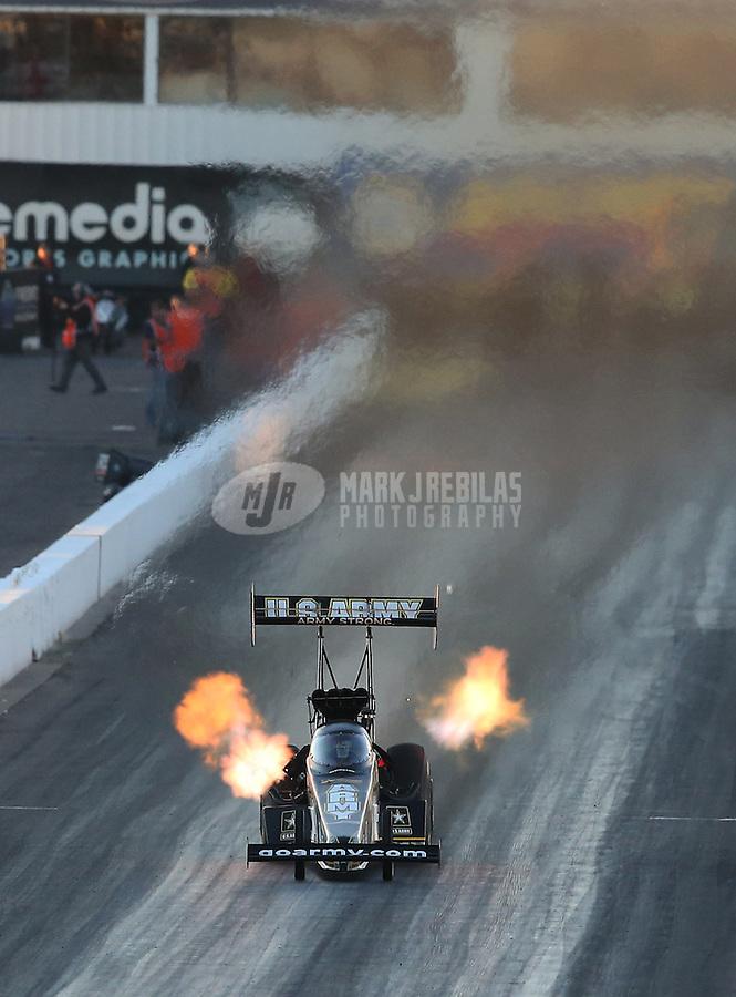Feb. 22, 2013; Chandler, AZ, USA; NHRA top fuel dragster driver Tony Schumacher during qualifying for the Arizona Nationals at Firebird International Raceway. Mandatory Credit: Mark J. Rebilas-