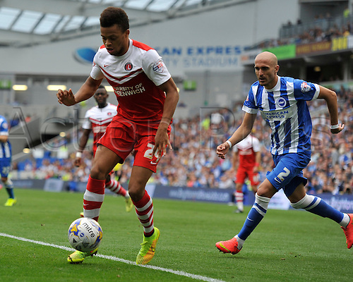 30.08.2014.  Brighton, England. Sky Bet Championship. Brighton and Hove Albion versus Charlton Athletic. Charlton's Jordan Cousins