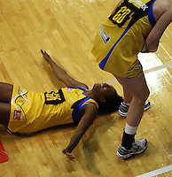 Pulse goalkeep Althea Byfield hits her head on the floor during the ANZ Netball Championship match between the Central Pulse and Northern Mystics, TSB Bank Arena, Wellington, New Zealand on Monday, 4 May 2009. Photo: Dave Lintott / lintottphoto.co.nz